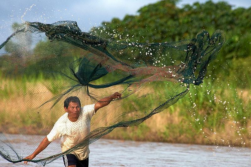 Pêche au filet en Amazonie